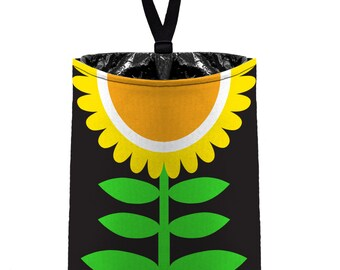 Car Trash Bag // Auto Trash Bag // Car Accessories // Car Litter Bag // Car Garbage Bag - Mod Bloom Sunflower Flower Floral // Car Organizer