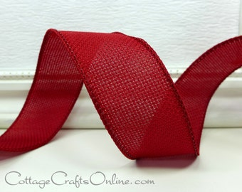 """Wired Ribbon, 1 1/2"""", Burgundy Red Hopsacking Texture - THREE YARDS - Offray """"Rupert"""" Fall, Thanksgiving, Christmas Wire Edged Ribbon"""