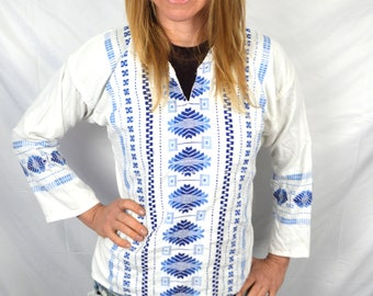 Vintage Embroidered Woven Hippie Boho Top Tunic