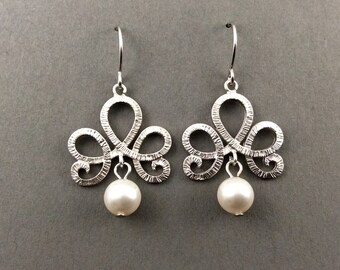 Pearl Earrings Bridesmaids Gifts Classic Scroll In Silver With White Swarovski Pearls