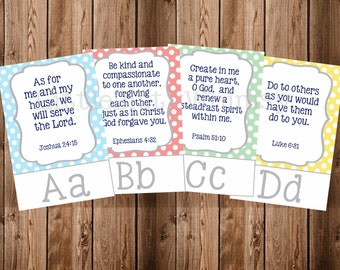 Abc Scripture Cards Set 2, Abc Bible Verses, Polka Dot, Scripture Cards, Bible Memory, Instant Download, Digital Printable
