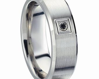 cobalt wedding band with black diamond