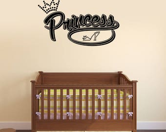 Princess Vinyl Wall Decal Baby Girl Room Nursery Lettering Stickers Mural (#2689di)