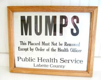 Vintage Mumps Medical Quarantine Sign, Framed Black and White Industrial Sign, Labette County Kansas, Medical Home Decor