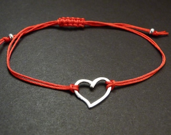 Heart bracelet, Valentine's day, affordable gift, adjustable cord, anniversary gift idea, sterling silver jewelry
