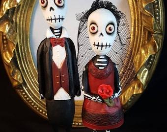 Gothic Wedding Skeleton cake topper Halloween Folk Art
