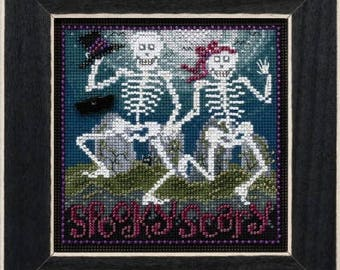 MILL HILL KIT Spooky Scary cross stitch Includes floss beads perforated paper October Halloween skeletons