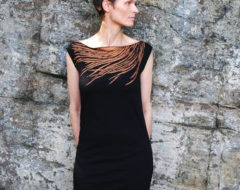 SALE - Womens Black T Shirt Dress - Southwest Metallic Silver Feather Print - Wear Day and Night - For Her