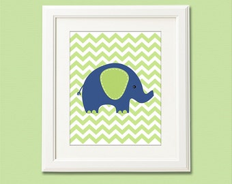 Navy and green elephant nursery Art Print - 8x10 - Children wall art, Baby boy Room Decor, chevron, navy, green, elephant - UNFRAMED