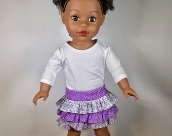 """Girl doll skirt, ruffled skirt for doll, skirt for 18"""" doll, Optional shoes, Girl doll outfit, Skirt fits like American.Girl doll clothes"""