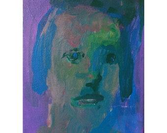 Woman girl portrait blue original painting art people acrylic canvas face