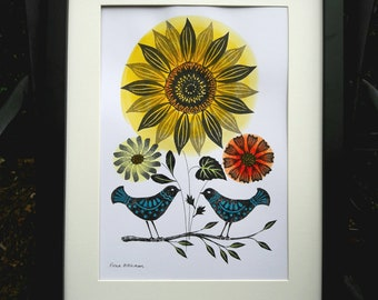 Folky Birds with Sunflower, Affordable Original Art