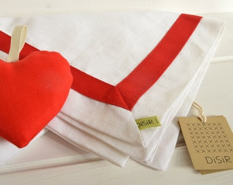 Runner mixed linen white and red, linen, linenSet table for two, Valentine's Day gift,