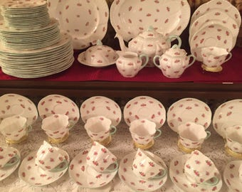 Free shipping worldwide! Shelley Dainty Rosebud Dinner Service for 12. Total 70 pieces.