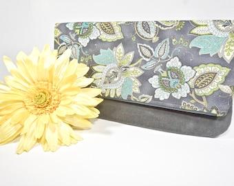 Sale Fold Over Clutch | Grey Paisley Everyday Clutch | Wedding Clutch | Evening Clutch Purse | Waxed Canvas Zipper Clutch  Bridesmaid Clutch