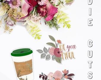 Fall Blossom Die Cuts | Flower Die Cuts | Coffee Die Cuts | Planner Die Cuts | Traveler's Notebook Die Cuts | Planner Accessories | TN
