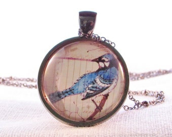 Pendant - Necklace - Blue Jay Necklace - Bird Pendant - Wearable Art Pendant - Bird Lovers Gift - Gift for Friend - Birthday Gift for Woman