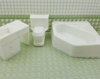 Superior Bathroom  Soft  Plastic Pure White tub toilet sink