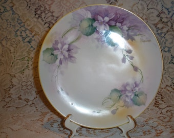 Antique Nippon Violet Cabinet Plate Circa 1911 Signed S Nadesco Collectible Porcelain Wall Home Decor