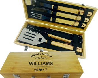 BBQ SET 5 tools Custom engraved/ personalized grilling set with 5 useful BBQ grilling tools in natural bamboo case