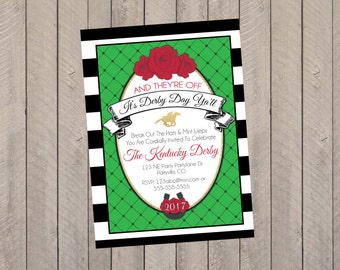 Kentucky Derby Invitation, Kentucky Derby Party, Kentucky Derby, Kentucky Derby Shower Invitation- Printed Invitations
