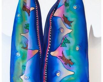 """SALE-Painted Silk Scarf. Dog silk scarf. 8x52"""" silk. Hand-painted Silk Scarves~Handpainted silk scarf~Hand painted silk scarf~Silk painting"""