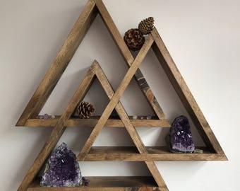 Valknut, THE ORIGINAL DESIGNER, display shelf, centerpiece, crystal display shelf, triple triangle, triangle shelf, gothic, viking, pagan,