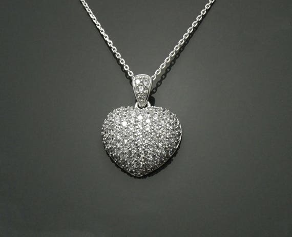 Diamond Heart Necklace, Sterling Silver, 3.9ct Lab Diamonds Simulant, Fine Jewelry, Promise Necklace, Love Charm, Valentine's Day Gifts