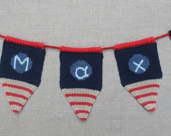 Personalised knitted bunting