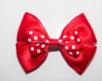 Red Polka Dot Hair Bow – White Spotty Hair Clip – Funky Cute Birthday Gift – Girls Hairbow – Satin Hair Accessory