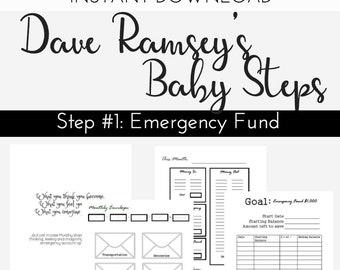 """DAVE RAMSEY Printable, Budget Planning, Instant Download, Financial Planner Printable """"Baby Step #1"""", Cash Envelope System PDFs, Debt free"""