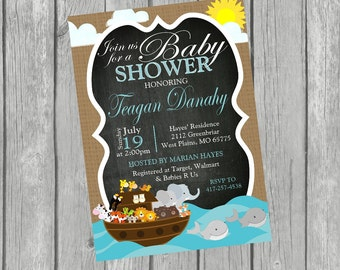 NOAH'S ARK Baby Shower Chalkboard Invitation - Digital Personalized File to Print