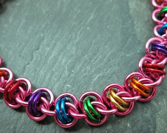Chainmaille Bracelet - Rainbow Chainmail - Unicorn Bracelet - Barrel Weave - Rainbow Bracelet - Chainmaille Jewelry - Pink and Rainbow