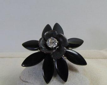 Black Onyx Flower Adjustable Ring