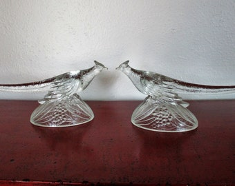 Pair of Ringneck Pheasant Pressed Glass Figurines  KR. Haley Glass 1947