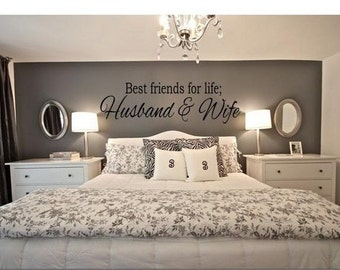 Best Friends for Life Husband and Wife wall graphics - Bedroom wall decor - Wall art - Vinyl Graphics - Made to Order