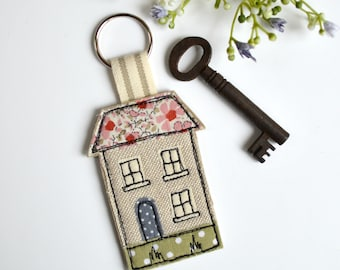 House keyring, house warming gift, house key fob,  fabric house key ring, house key-ring, key fob, keychain, house keychain, new home gift