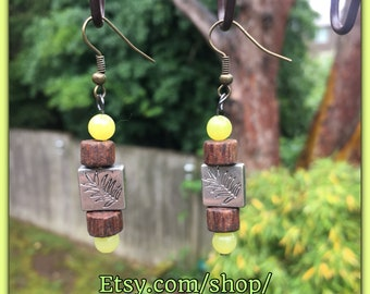 Nature Inspired Earrings - Great Gift - Leaf & Wood Design