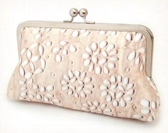Clutch bag, silk purse, wedding accessory, beige cream, bridesmaid, PALE LACE PETALS