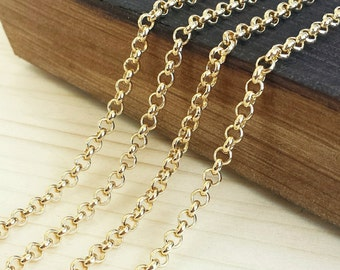 Gold 3.5mm Rolo Chain - 5 feet or 10 feet - Shiny Gold Plated - Soldered Links - Nickel Free
