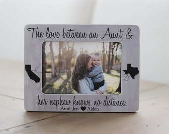 Long Distance Aunt Nephew States Frame Personalized GIFT Aunt Auntie Long Distance The Love Between an Aunt and Nephew Knows No Distance