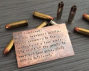 2nd Amendment Rustic Stamped Wallet Card Insert or Sign - Unique Gift for Father's Day, Military, Police, Gun Owners - 7th Anniversary Gift