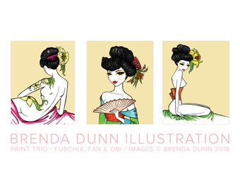 Geisha 8x10 print trio