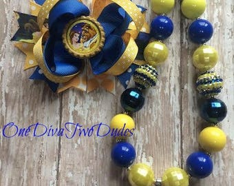 Beauty and the Beast hair bow and chunky necklace