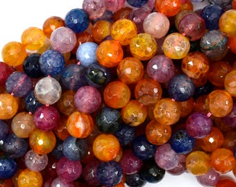 """10mm faceted agate round beads 15"""" strand multicolor S3 38854"""