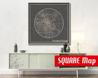 YOUNGSTOWN OH SQUARE Map Youngstown Ohio Poster City Map Youngstown Ohio Art Print Youngstown Ohio poster Youngstown map