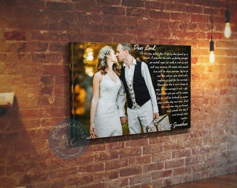 Wedding First Dance Song Lyrics Photo on Canvas Song Lyrics Art Anniversary Gift for Husband Canvas Print Anniversary Gift