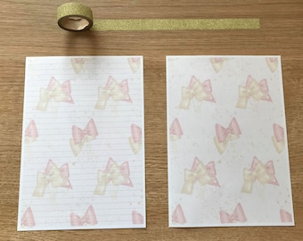 Pretty Bow Paper Clip Snail Mail Pen Pal Writing Paper
