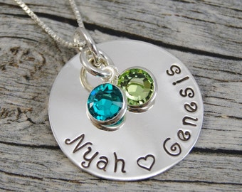 Hand Stamped Jewelry - Personalized Jewelry - Mother Necklace - Sterling Silver Necklace - Two Names Two Birthstones