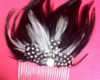 Retro Black and guinea feathers with crystal cabochon  Hair COMB Fascinator